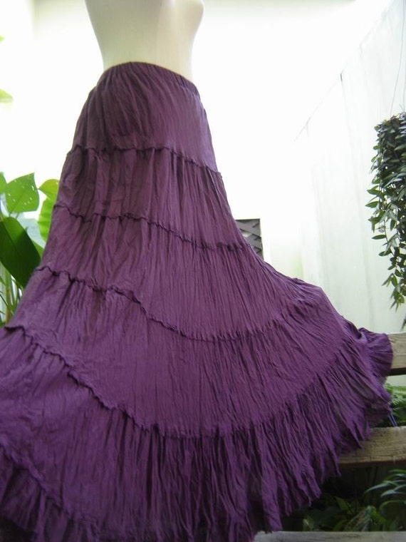ARIEL on Earth - Boho Gypsy Long Tiered Ruffle Cotton Skirt - Deep Purple