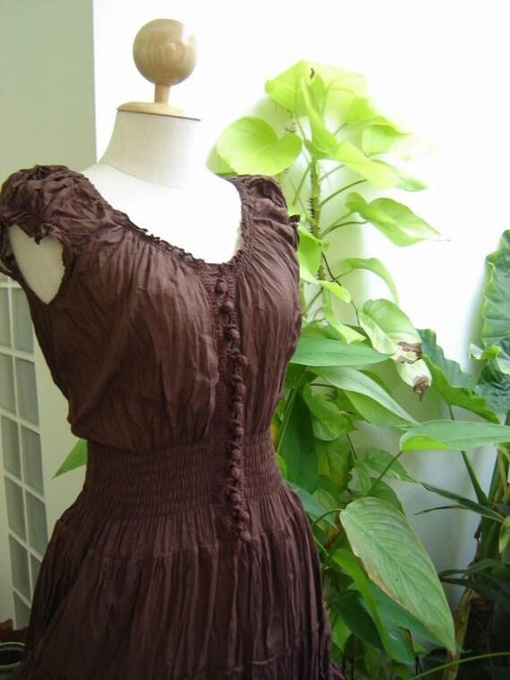 Princess Cotton Dress - BROWN