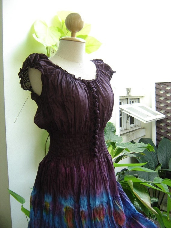 RESERVED for BluuLotusDesigns - Princess Tie Dyed Purple Top Cotton Dress Extra Long