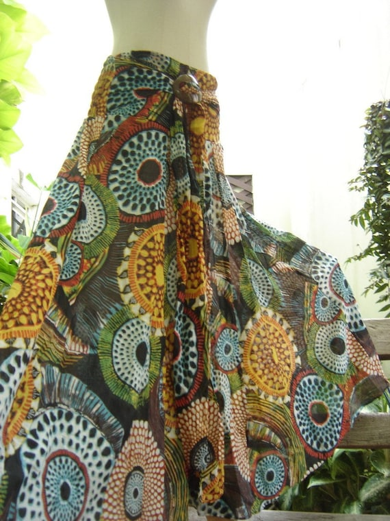 Jungle Eyes Printed Cotton Boho Long Skirt
