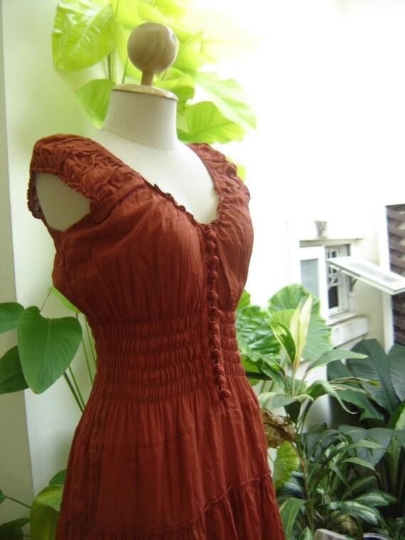 Princess Cotton Short Dresses - BRICK