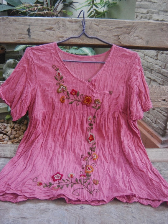 Bohemian Embroidered Short Sleeves in Blush Pink