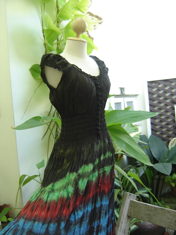 Princess Tie Dyed Black Top Cotton Dress BK502