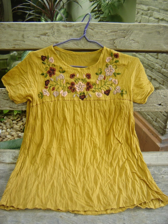 Bohemian Embroidered Top in Mustard