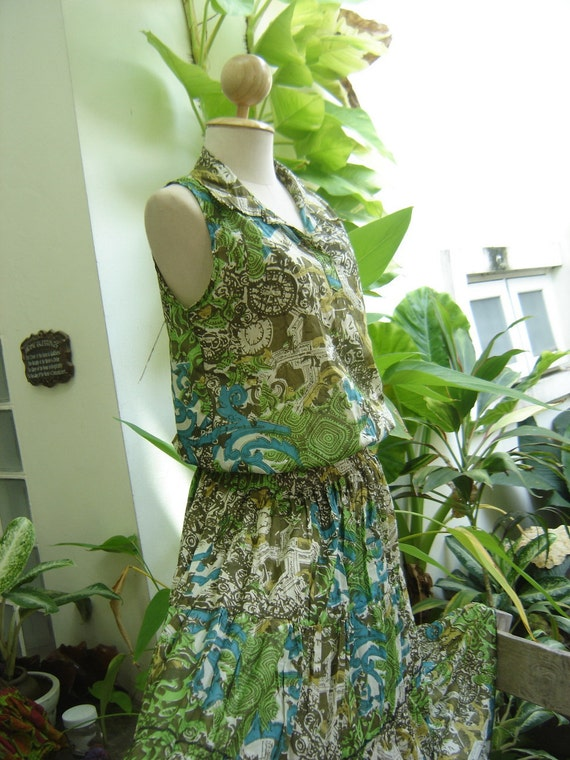 SALE from 41 now 30 - Green Printed Cotton Tunic - D612