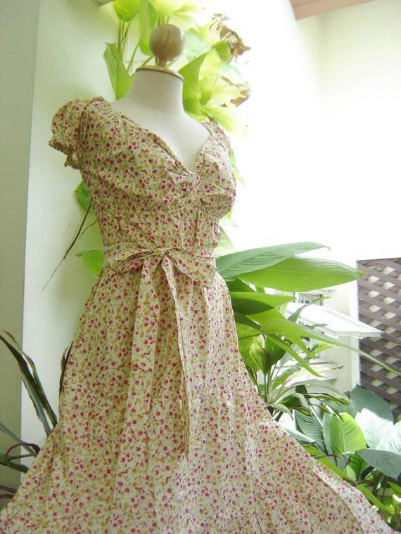 Adorable Me Cotton Dress - Pink-Cream Floral Printed