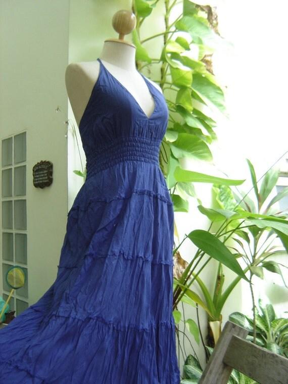 BLUE Halter Back Smocked Maxi Cotton Dress