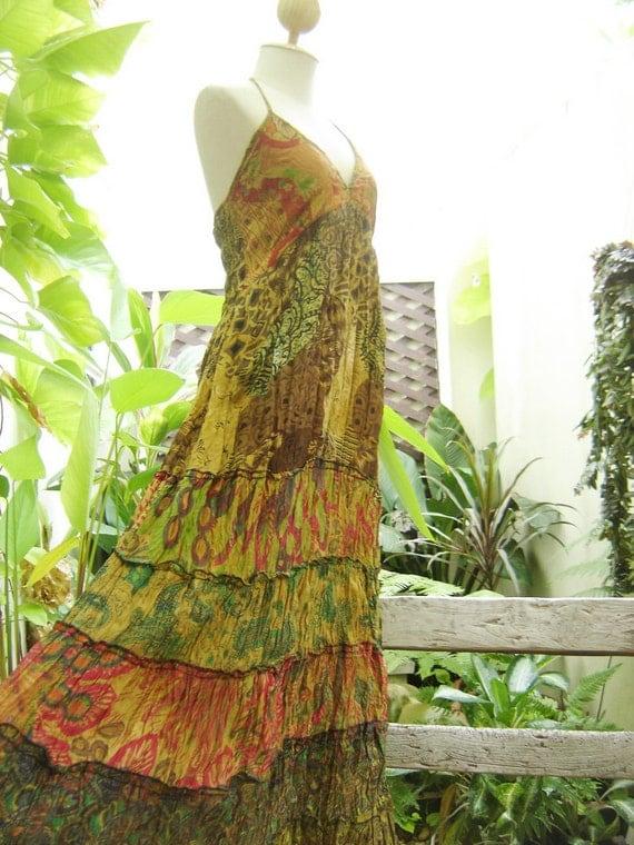 Patchwork Dyed Cotton Halter Back Smocked Maxi Dress - M2801