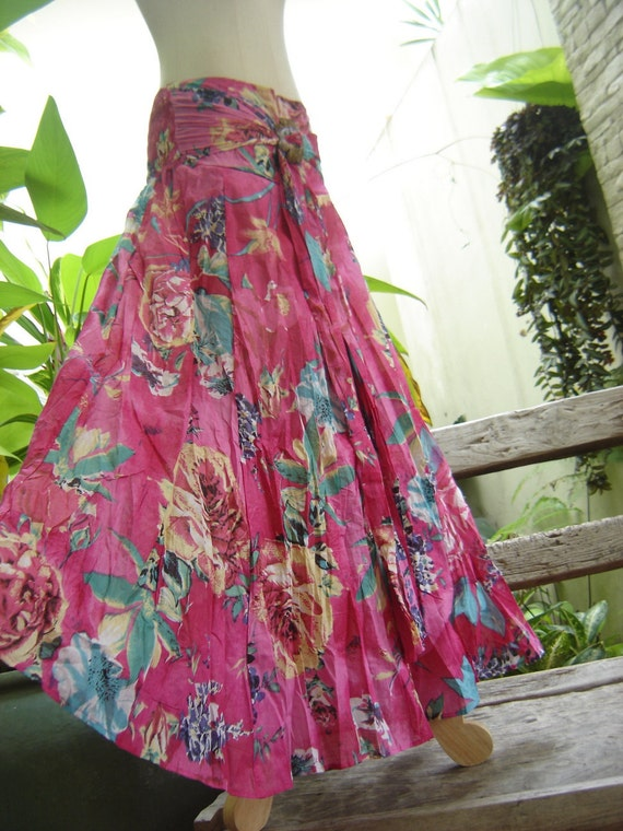 Floral Printed Cotton Boho Long Skirt Ssc1904
