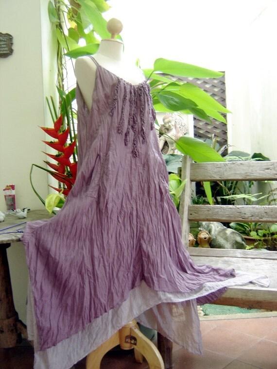 L-XL Double Layers Maxi Cotton Dress - Soft Purple