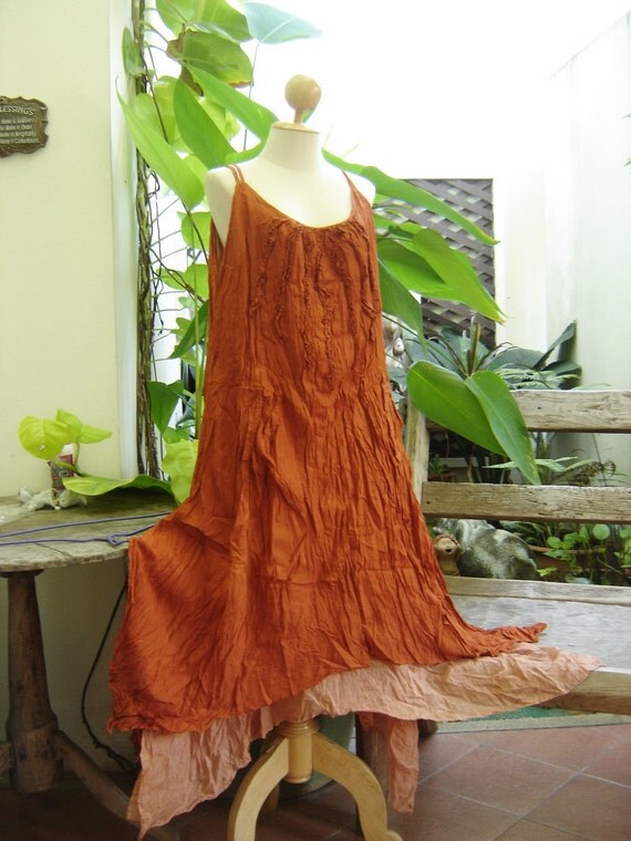 L-XL Double Layers Maxi Cotton Dress - Brick Orange