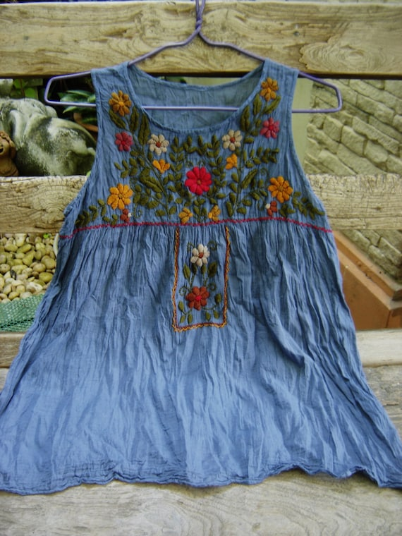 Sleeveless Bohemian Embroidered Top in Blue