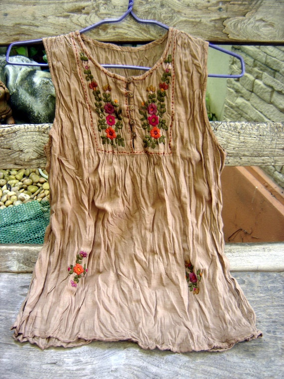 Sleeveless Bohemian Embroidered Top in Light Brown