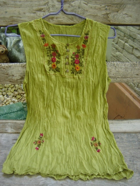 Sleeveless Bohemian Embroidered Top in Apple Green