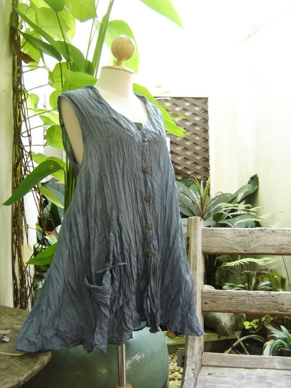 RESERVED for Rhonda - Sleeveless Cotton Top - Blue Grey