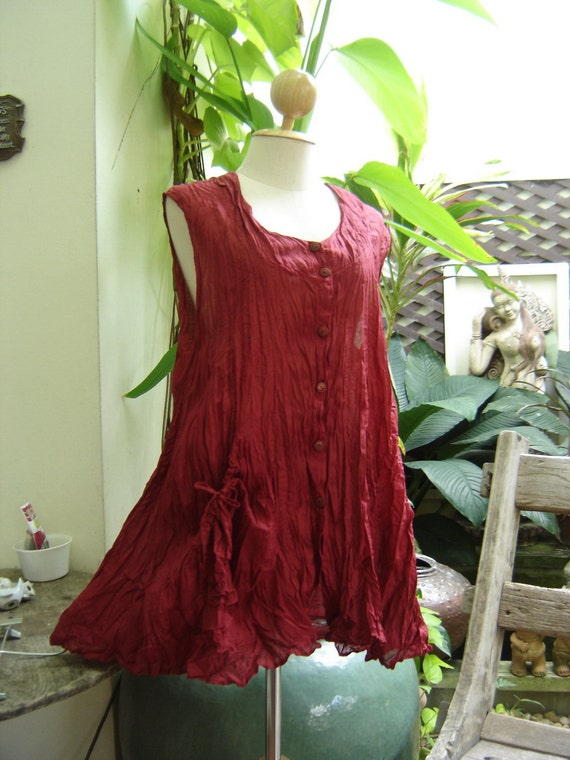 Sleeveless Cotton Top - Red Wine