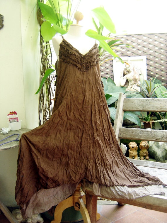 Double Layers Maxi Cotton Dress III - Brown