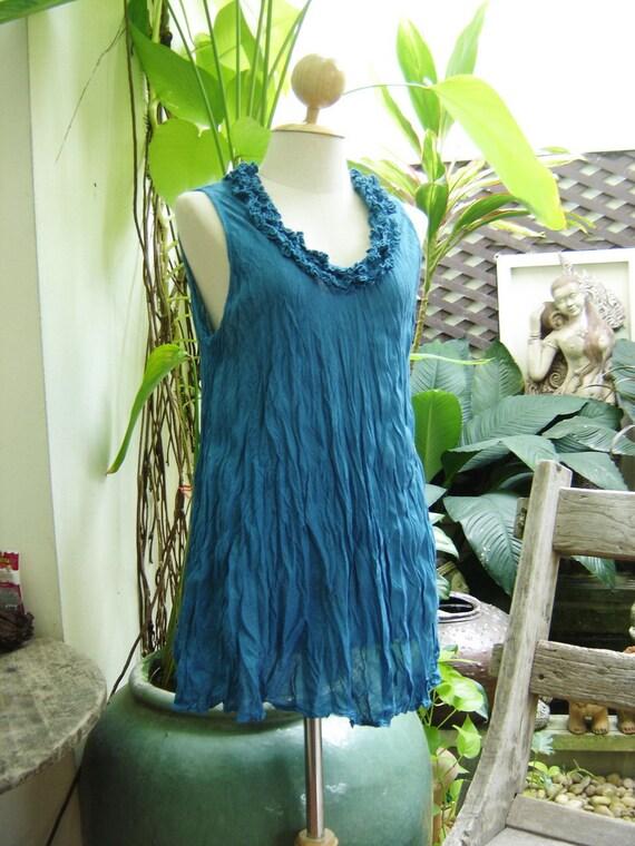 Scoop Frills Neckline Cotton Top - Blue
