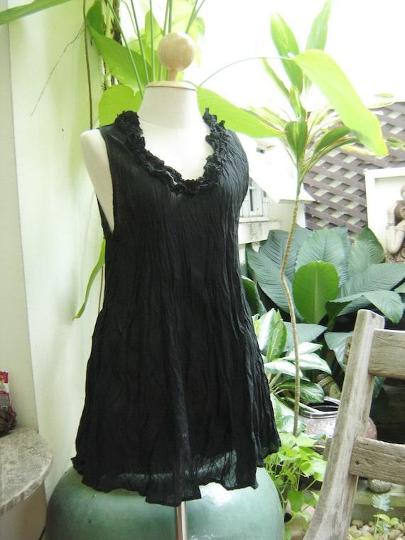 Scoop Frills Neckline Cotton Top - Black