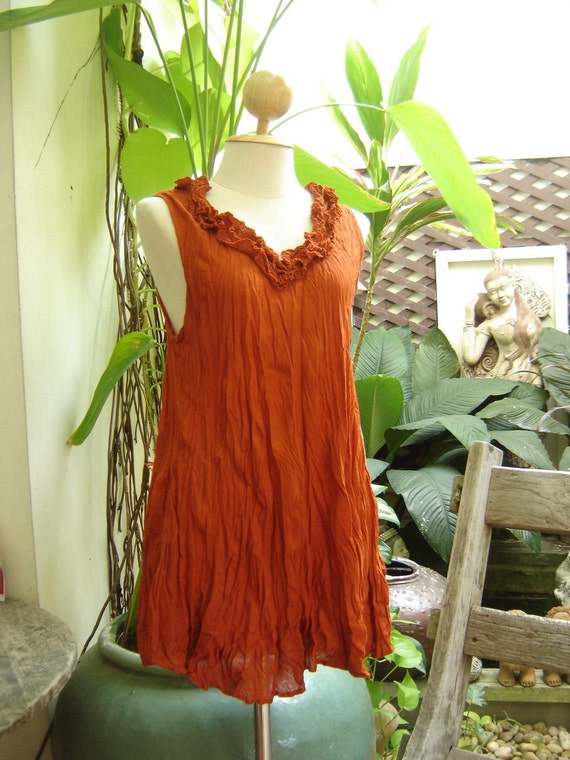 Scoop Frills Neckline Cotton Top - Brick Orange