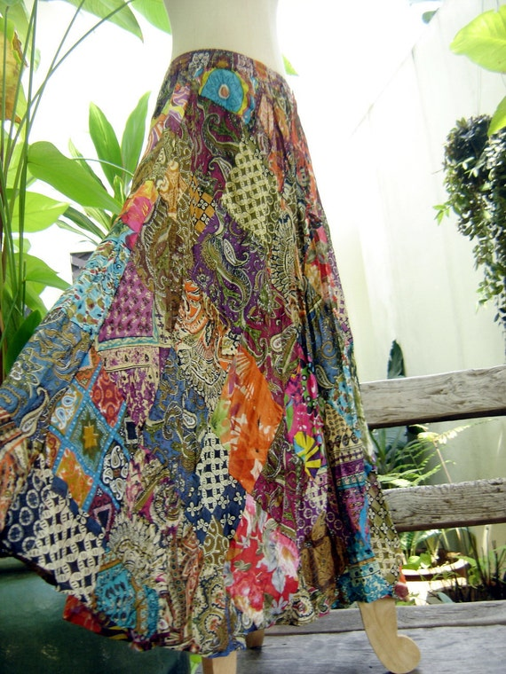 Floral Print Thai Soft Cotton Patchwork Boho Skirt - elastic waist OM0403