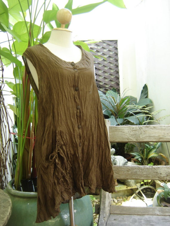 Sleeveless Cotton Top - Brown
