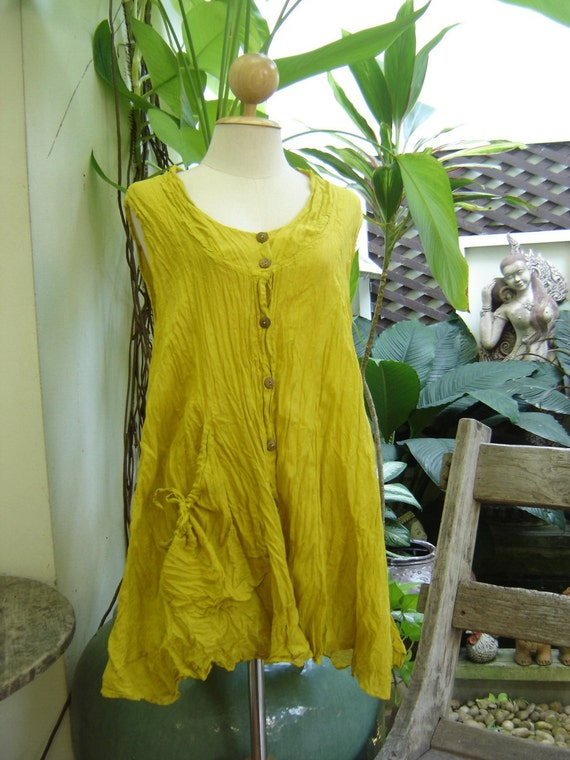 Sleeveless Cotton Top - Mustard Yellow