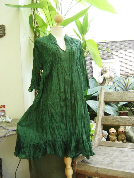 Comfy Cotton Tunic - Forest Green