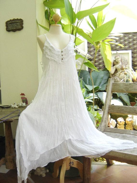 Double Layers Maxi Cotton Dress III - White