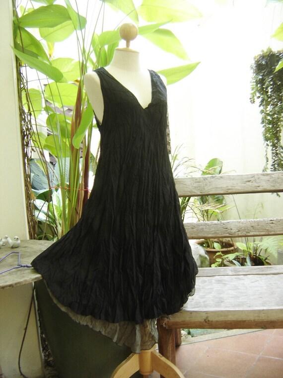 M-XL Double Layers Cotton Dress - Black
