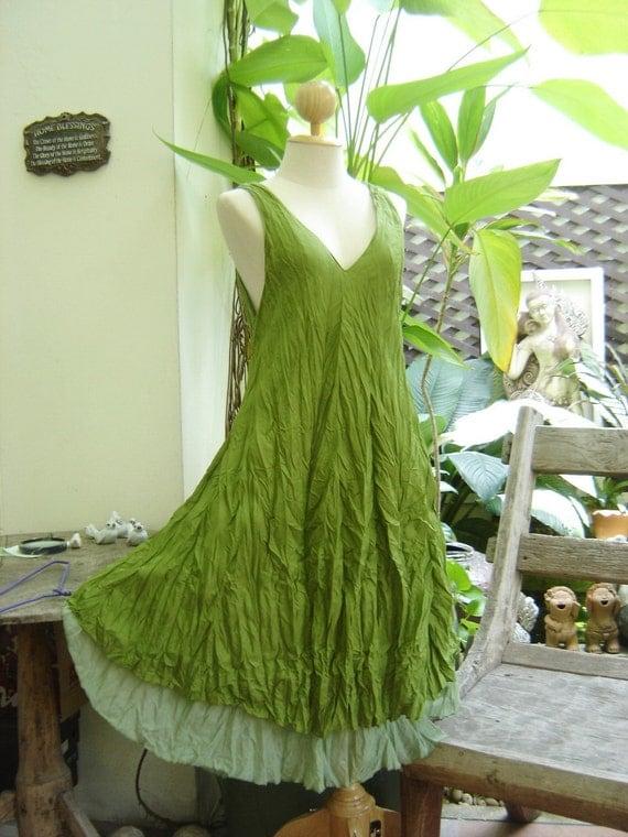 M-XL Double Layers Cotton Dress - Apple Green
