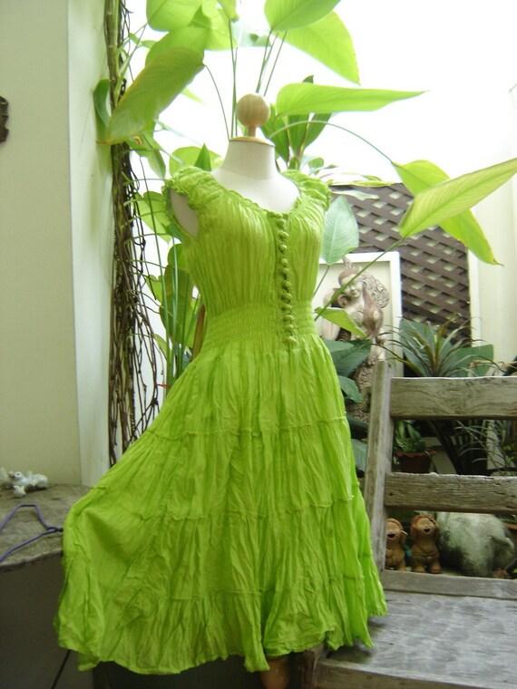 Princess Cotton Short Dress - Fresh Apple Green