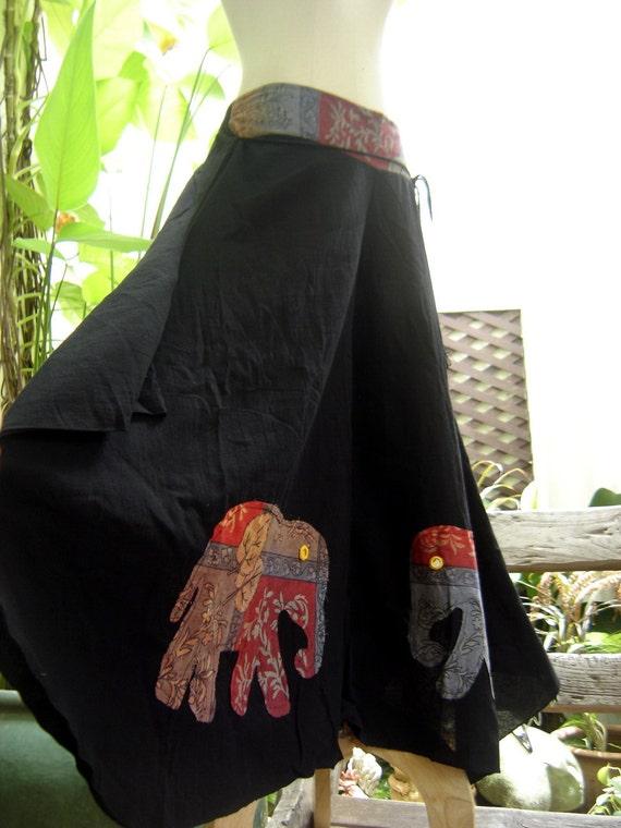 Wide Leg Pants - Black Cotton with Stitched Cotton Elephants RE0602