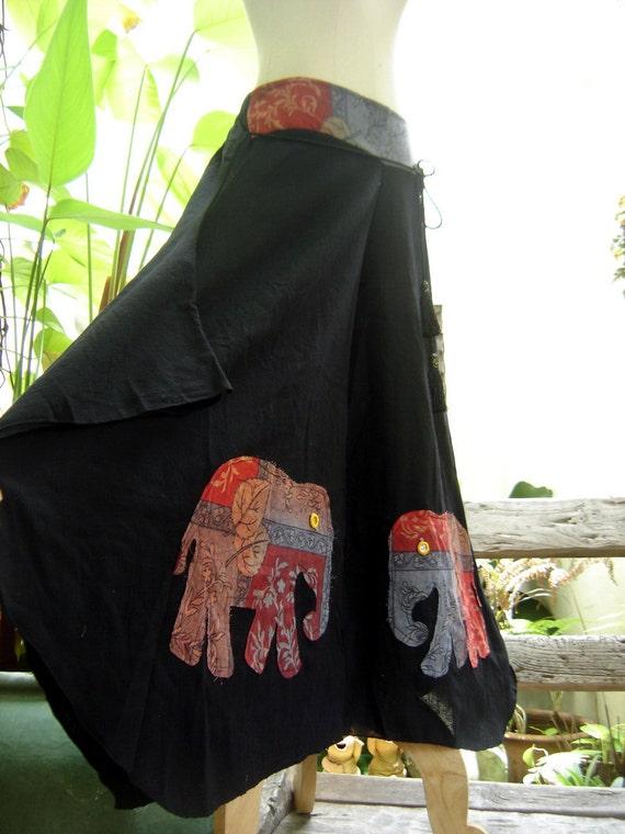 Wide Leg Pants - Black Cotton with Stitched Cotton Elephants RE0603