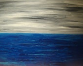 Huge Original Abstract Art Seascape Painting Black White Silver Blue giant sale