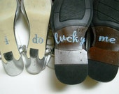 His & Hers I DO Shoe Stickers in Blue I Do  and Lucky Me
