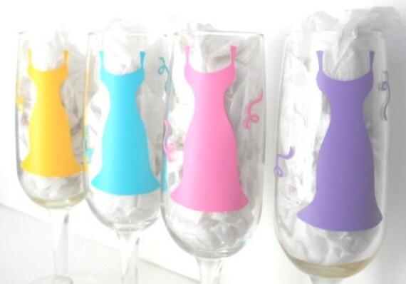 Custom Order for Kiera Bride and Bridesmaids Champagne Glasses personalized for wedding or bachelorette party