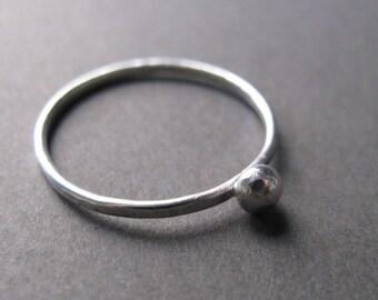 Tiny Ball Ring, minimalist silver stacking ring