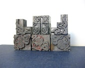 Vintage Letterpress Block Set - Decorative Scroll Borders for Printing, Art Nouveau Printer Stamps, Letterpress Illustrations, Glyphs