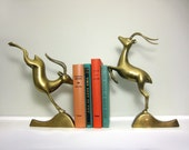 Vintage Hollywood Regency Brass Antelope Bookends, Large Metal Impala Book Ends, Statue Figurines, Library Statement Pieces, Gold Tone