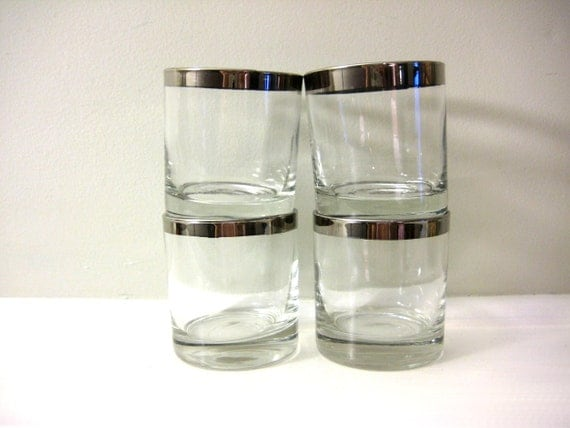 Silver Rim Drinking Glasses, Small Tumblers - Vintage Set of 4, Mad Men Rimmed Band, Dorothy Thorpe Style