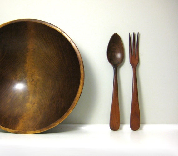 Wooden Bowl Set, Vintage French Wood Bowl with Servers, Salad Bowl Set, Mid Century Modern Style