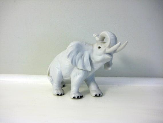 Vintage Elephant Figurine White Elephant Ceramic Statue