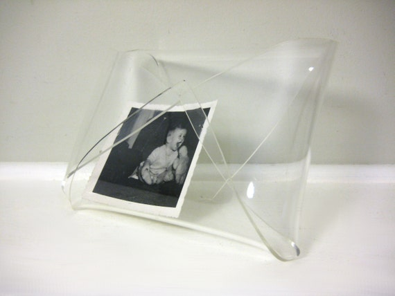 Clear Lucite Napkin Holder, Office Mail Organizer, Vintage Plastic Container, Acrylic Storage, Hollywood Regency Book Stand