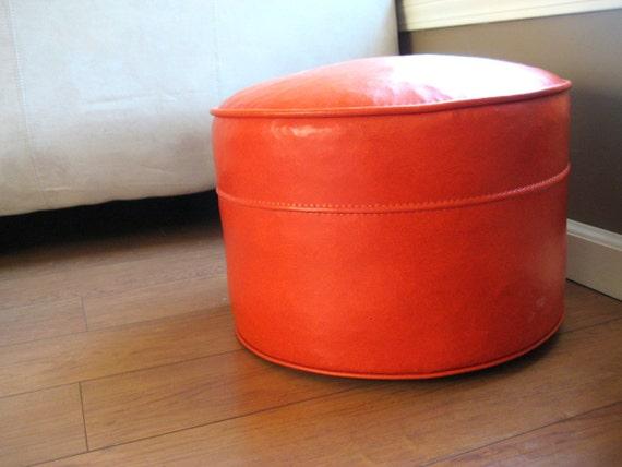 Mid Century Modern Ottoman, Stool - Tangerine Orange Vinyl, Vintage Retro 1960s Bright Bold Furniture