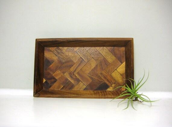 SALE Vintage Herringbone Wood Tray, Vintage Chevron Wooden Tray, Geometric Parquet Monkeypod Trinket Dish, Natural Dark Brown Woodgrain