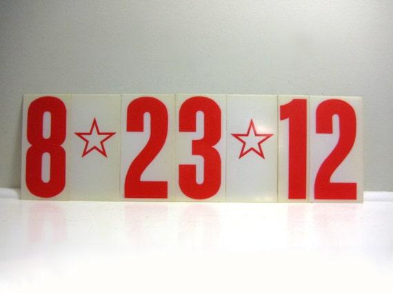 Custom Date Sign - Vintage Numbers and Stars, Red Plastic Industrial Salvage, Custom Wedding Decor, 0-9