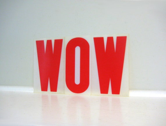 WOW Sign - Vintage Alphabet Letters, Red Plastic Set of 3, Industrial Salvage, Custom Sign, A-Z, W O W, Graduation