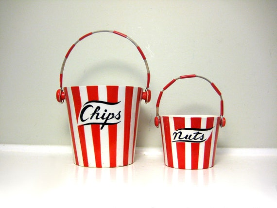 Vintage circus snack set porcelain red white stripe chip dish nut
