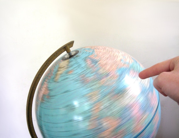 Vintage World Globe, Cram's Earth Model Library Office Decor, 1980s, Vacation Travel Turquoise Blue, Pastels, Home Decor